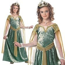 Kids Queen Guinevere Costume Medieval Times Girls Dress Party Outfit & Crown