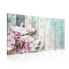 Pattern Floral Wood Turquoise CANVAS PRINT WALL ART XXL (PP2352WS)