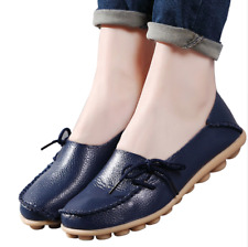 Plus Size Women Flats Shoes Genuine Leather Ladies Ballet Slip-on Soft Loafers