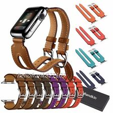 Double Buckle Cuff Bracelet Leather Band For Apple Watch Series 2 &1 38mm 42mm