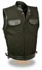 Men's Motorcycle Son of anarcy club patch Denim vest with Leather trim sidelace