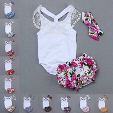 Baby Girls Toddlers Kids 3pcs Romper Lace Bodysuit+Headband+Pants Outfit Clothes