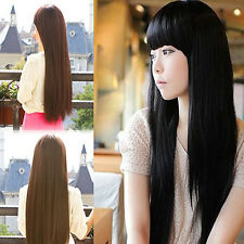 5 Colors Women Girls Beautiful Neat Bang Costume Party Long Straight Hair Wig