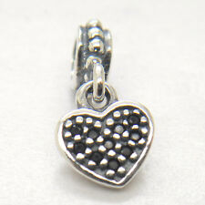 Genuine S925 Sterling Silver Black Pave Hanging Heart Dangle Charm