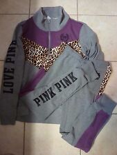 "VICTORIAS SECRET PINK LEOPARD""LOVE PINK"" SWEATSHIRT PANT SET OR SEPARATES NWT"