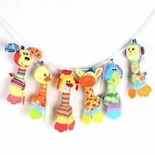 Tinkle Stroll Teether Rattle Squeaker Sounder Baby Plush Toy Animal Hand Bell