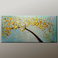 Handmade Yellow Textured Wall Art Tree Modern Oil Painting on Canvas (+ framed)