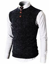 H2H Mens Slim Fit Casual Thin Fabric V-Neck Knit Henley Vest - Choose SZ/Color