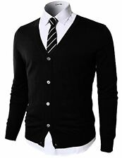 H2H Mens Casual Slim Fit Knitted Basic Designed V-Neck Long Sleeve Cardigan