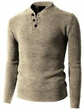 H2H Mens Casual Basic Designed Henley Knit Sweater - Choose SZ/Color