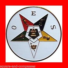☆NEW ALL METAL O.E.S.OES-THE ORDER OF EASTERN STAR CAR AUTO BADGE MASONIC EMBLEM