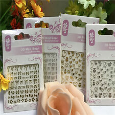 Fashion 3D Bowknot Heart Nail Art Tips Sticker DIY Decoration Manicure Decals