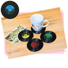 Coasters Vinyl Chic Record Discs Bar Cup Drinks Place Mats Holder Set Tableware