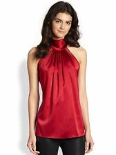Halter-Neck Silky Satin Blouse