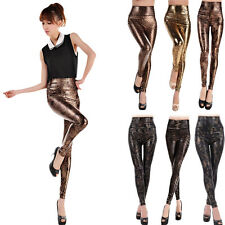 Sexy Women Faux Leather Leopard High Waist Stretch Skinny Pants Slim Leggings