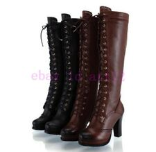 Retro Womens High Heel Leather Military Combat Roma Knee High Boot Lace Up Shoes