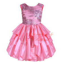 Girls Sequinned Flower Formal Dress Wedding Princess Party Pageant Communion