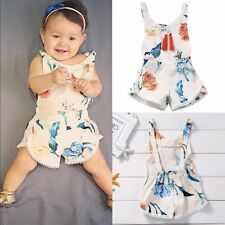 Infant Toddler Baby Kid Girl Flower Backless Romper Jumpsuit One-Piece Clothes