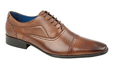 Mens New Burnished Brown Capped Oxford Leather Lined Shoes