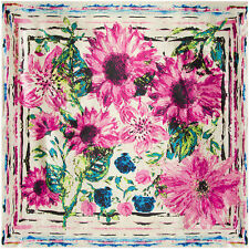"""Women's Blue Vintage Flower Painting Soft Satin Square Head Scarf Shawl 35""""*35"""""""