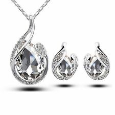Gold Plated Simple Teardrop Crystal Earring Pendant Chain Necklace Jewelry Set