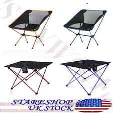 Folding Fishing Chair Portable Table BBQ  Camping Hiking Beach Lightweight US