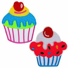 Blue Pink Cherry Cupcake Food Cute Pretty Sweet Girl Embroidered Iron on Patch