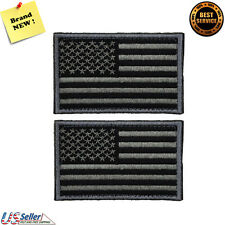 2 pieces Tactical USA Flag Patch -Black Gray- Velcro American Flag US United S