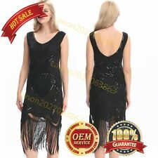 Ladies 1920s Roaring 20s Flapper Costume Sequin Pearls Outfit Fancy Dress Black