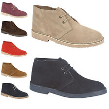 Mens New Real Suede Leather Lace Up Unisex Desert Boots 6 7 8 9 10 11 12