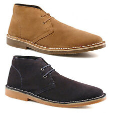 Mens Brand New Real Suede Lace Up Desert Boots Navy Sand