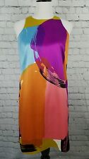 Ann Taylor Petite 8P Dress Multi Color Shift Dress Paint Silk Lined Sleeveless