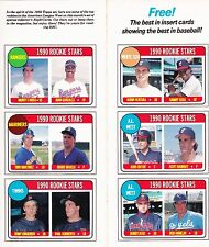 1990 Baseball Magazine Insert Cards 2 Sheets with Total of 12 MLB Players