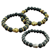 Lava Stone Charming Bangle Bracelet Rock Elastic Bracelet Buddha Beaded