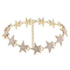 Gold Star Crystal Beaded Necklace Rhinestone Fashion Choker Collar Necklace