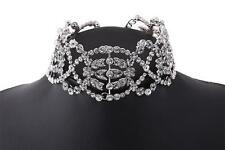 Vintage Rhinestone Choker Flora Crystal Choker Diamante Fashion Necklace Jewelry