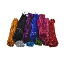 100Pcs Coloured Glitter Chenille Stems  Pipe Sticks Cleaners For Art DIY Crafts