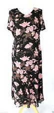 JACQUES VERT UK 12 14 Chiffon Blouse Top & Skirt suit Pink Taupe Brown Floral