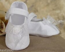 Baby Girls Christening Shoes White Poly Cotton & Organza Size NB, 3M, 6M, 9M