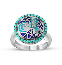 Women's Silver Turkish Ottoman Turquoise Ring with Tughra and Zircon