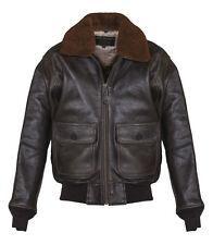 Schott NYC Mens G1S Vintage Wings of Gold G-1 Flight Real Leather Jacket Brown