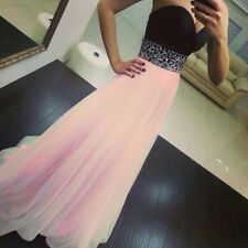 Women Wedding Gowns Strapless Sequin Bridesmaid Evening Party Prom Maxi Dress