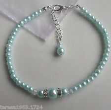 Baby blue stretch pearl anklet ankle bracelet something blue bridal wedding prom