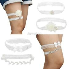 Wedding Bridal Garter Set Crystal Lace Flower Wedding Favor Keepsake Garter