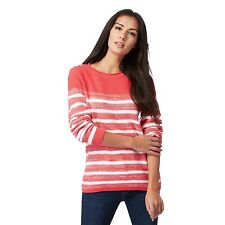 Maine New England Womens Coral Striped Chunky Knit Jumper From Debenhams
