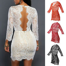 WOW Women's Sexy Bandage Bodycon Lace Evening Party Cocktail Short Mini Dress