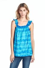 OCEAN PACIFIC WOMEN'S TOP TANK TOP TEE TUNIC TIE DYE SUMMER EVERYDAY TEE BLUE