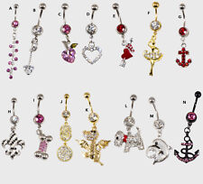 Unique Dangle Belly Button Ring 14G Body Piercing Navel Barbell Jewelry