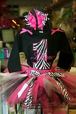 Zebra 1st Birthday Little Girls Onesie Tutu Outfit FREE Hair Bow Personalize