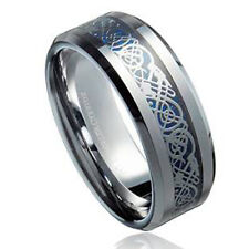 8mm Tungsten Carbide Dragon Inlay Over Blue Carbon Fiber Wedding Band Ring